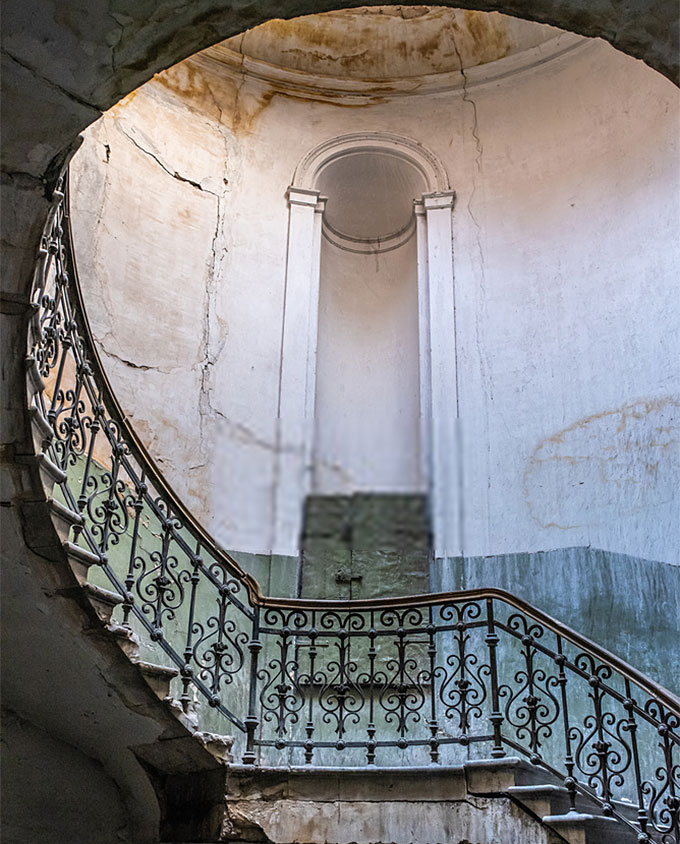 Antique old stairs in old building