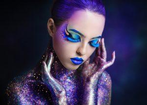 Beautiful bright girl in glitter