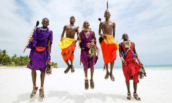 Maasai men jumping