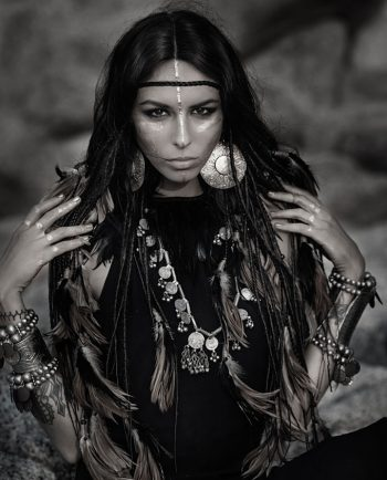 tribal woman black and white portrait