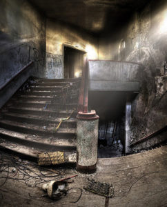 Old stairs in an abandoned building
