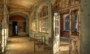 Hospital bed in an old abandoned sanatorium