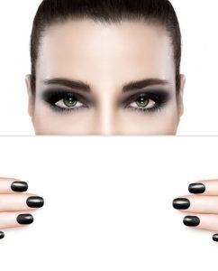Dark smoky beauty and nail art concept