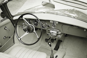 inside classic car - black and white
