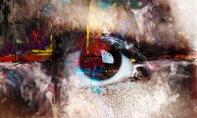 Abstract painting of a human eye