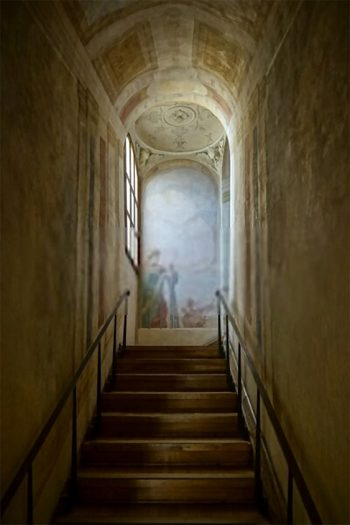 Old staircase to mural