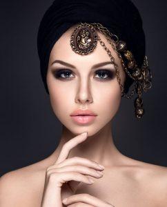 Beautiful woman portrait with headscarf on head