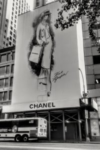 A billboard in New York with a sketch of Coco Chanel