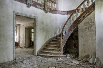 interior of an abandoned mansion