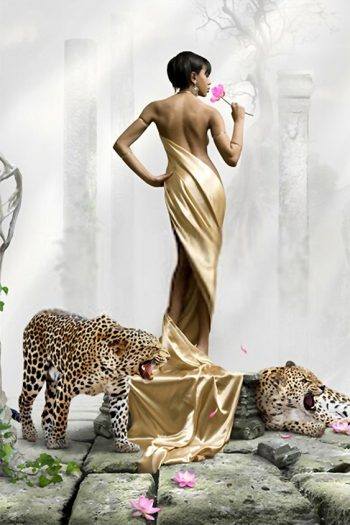 Black girl in golden dress with leopards