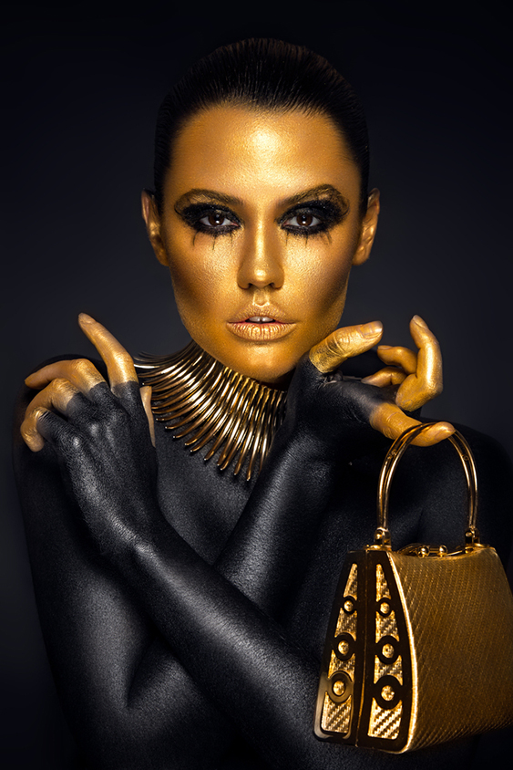 gold and black colors with golden purse