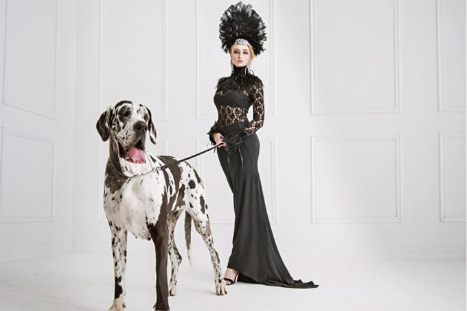 young woman with big dog