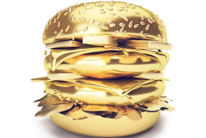 3D Gold hamburger