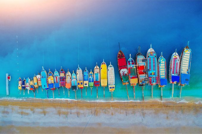 colorful boats in the mediterranean sea