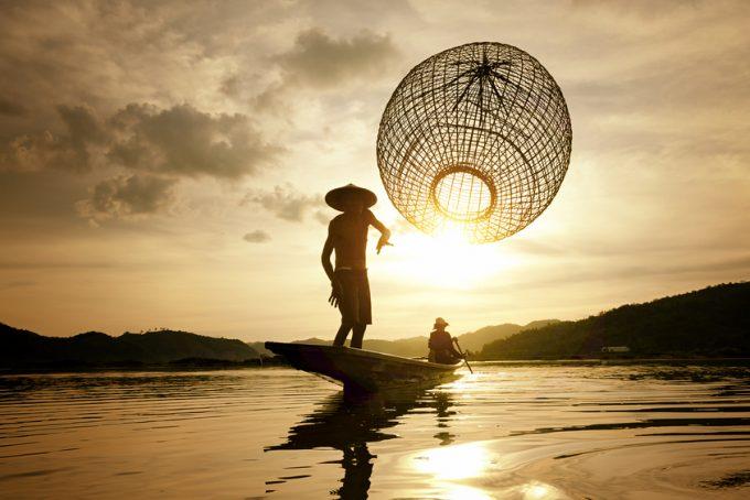 Fishermen using fishing nets