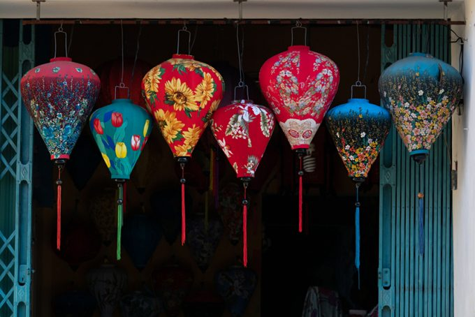 Floral patterned fabric lanterns
