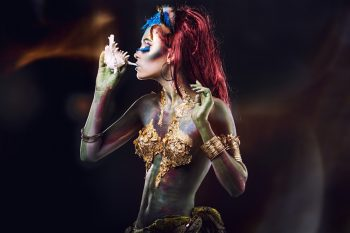 young girl with body art