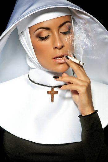 Sexy nun smoking