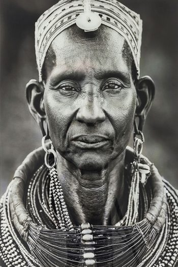 Old Samburu woman with traditional necklace