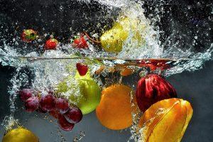 Splashing fruit in water