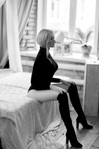 girl wearing sexy black body underwear