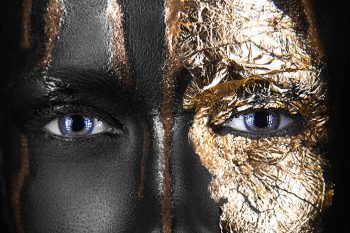 eyes dark-skinned girl with gold
