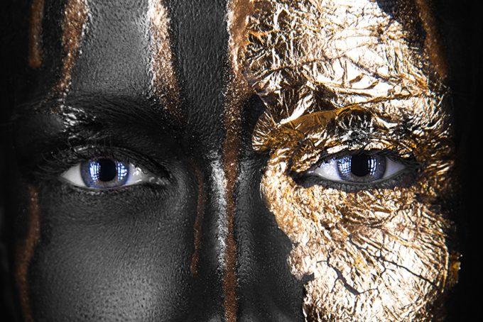 eyes dark-skinned girl with gold