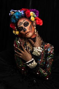 woman with skull makeup