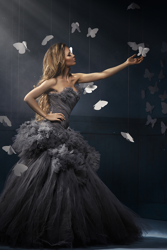 woman on the fog with butterflies