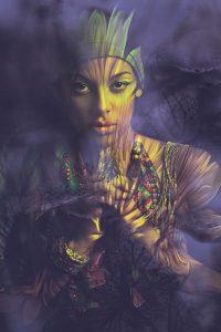 young woman portrait composite photo