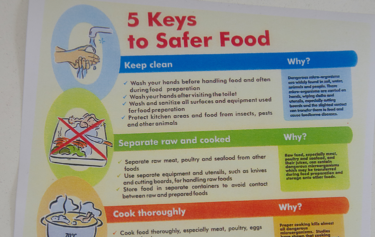 A graphic with keys to safer food