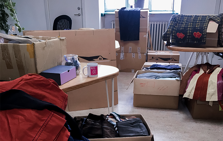 The clothes donated by danish designers is packed in boxes and ready for the shipment to Cape Town