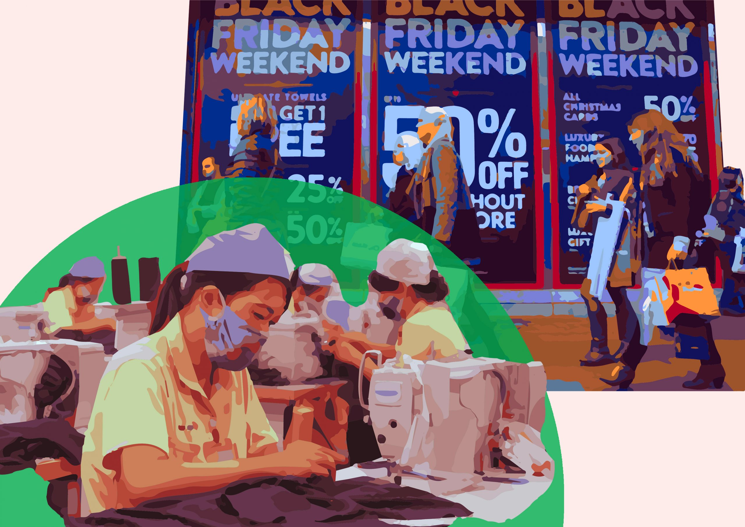 Factory workers sewing clothes in contrast to consumers buying clothing on Black Friday