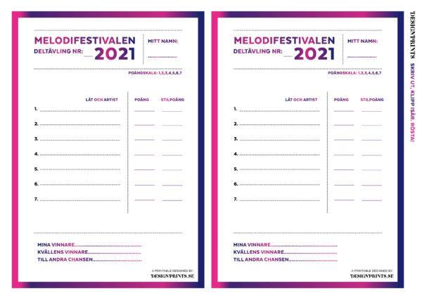 röstsedel till melodifestivalen 2021. röstsedel mello