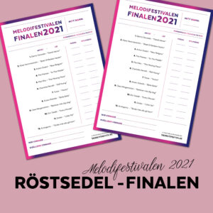 Röstsedel melodifestivalen Final, designprints