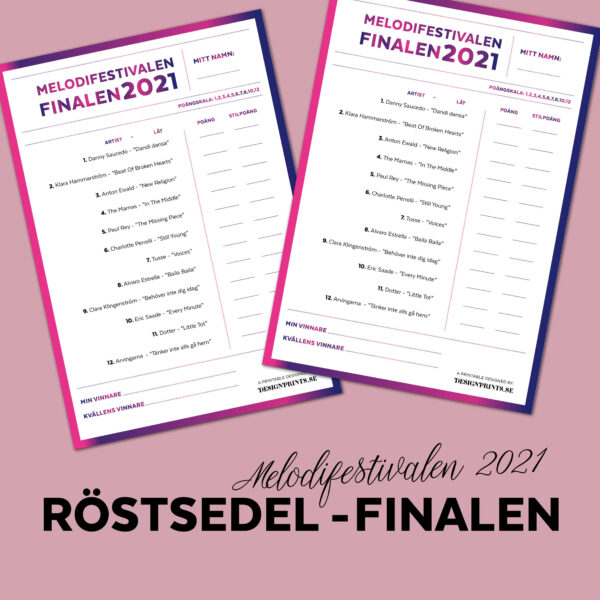 Röstsedel melodifestivalen Final, designprints