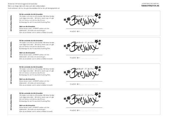 etikett till bivaxduk