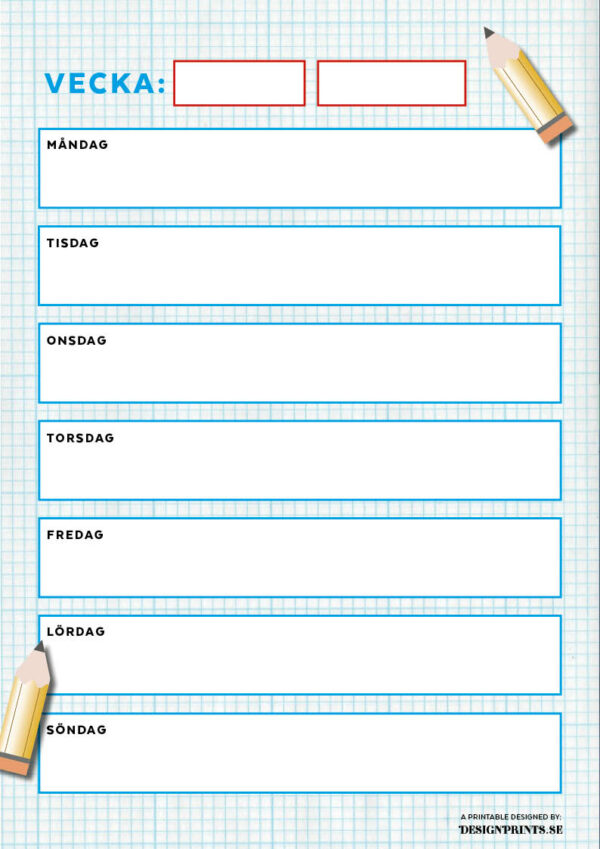 Vecko-schema, familjepussel, ordning och reda, schema, schema till barnen, veckoschema