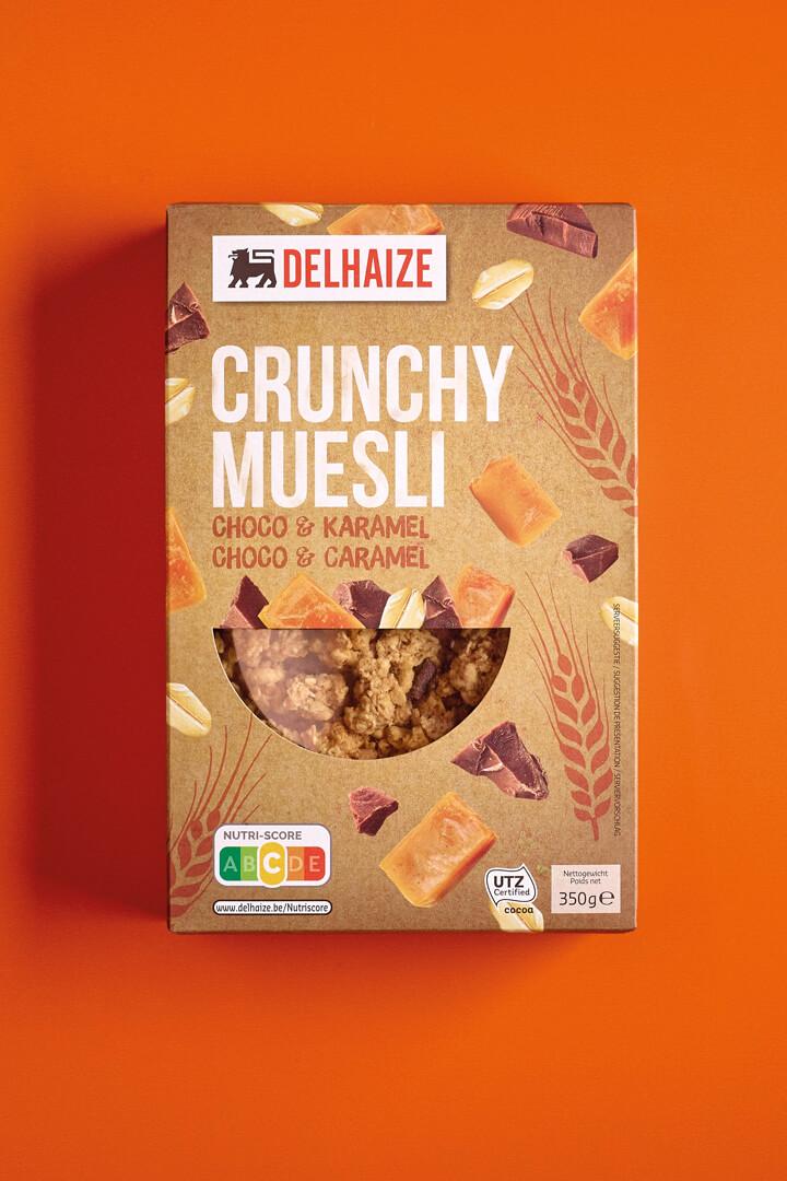 Delhaize ontbijtgranen branding en verpakking design - Delhaize Crunchy Muesli Packaging