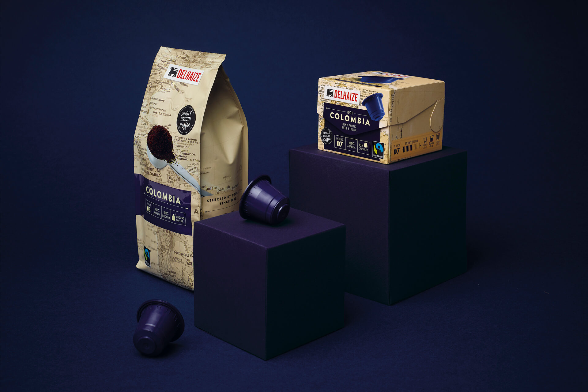 Emballage café pour Delhaize par DesignRepublic Bruxelles - Delhaize coffee packaging design