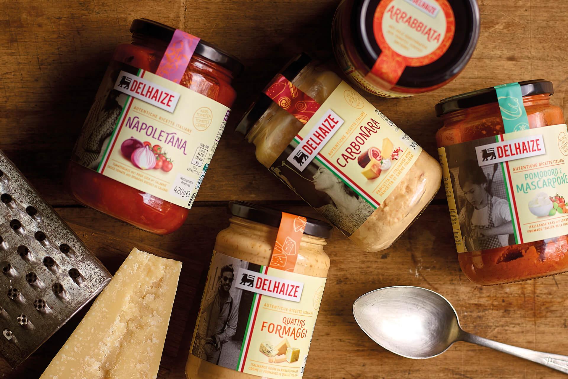 Emballage sauce pasta Delhaize par DesignRepublic Bruxelles