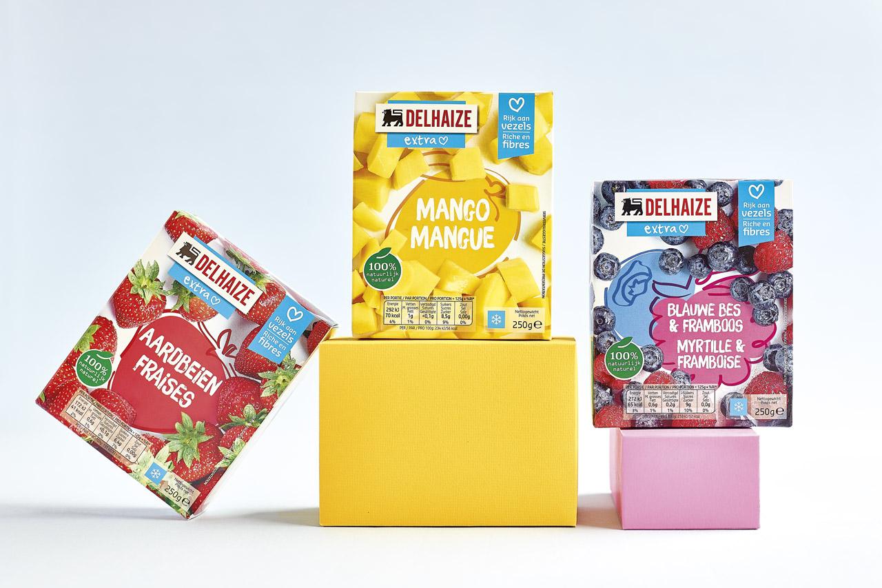 emballage fruits congelés Delhaize