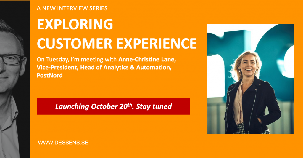 On Tuesday 20th, October, I am meeting with Anne-Christine Lane, Vice-President and Head of Analytics and Automation at PostNord.