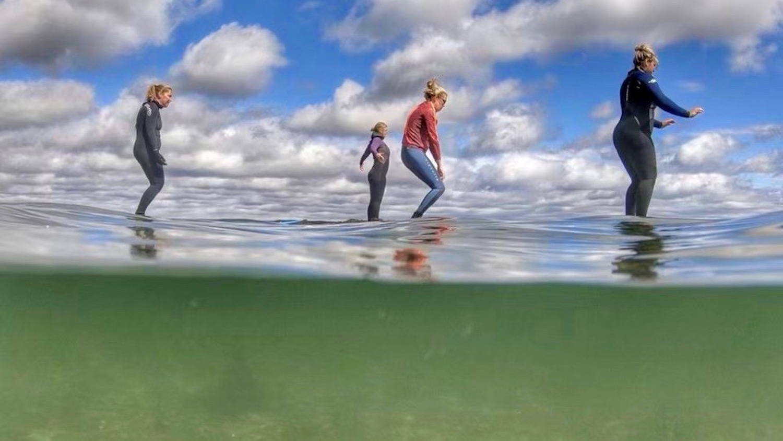 Gruppyoga på havet