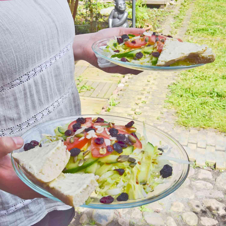 Apothekets salat. Frisk salat, tomat og agurk toppet med ristede græskarkerner, tørrede tranebær og rosiner Dryppet med valgfri balsamisk eddike eller olie fra vores tapperi