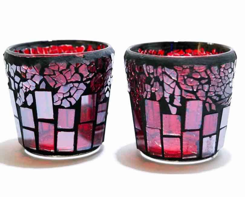 2 stk. Lysholder, rød mosaik glas, 8 cm høj Ø 8 cm