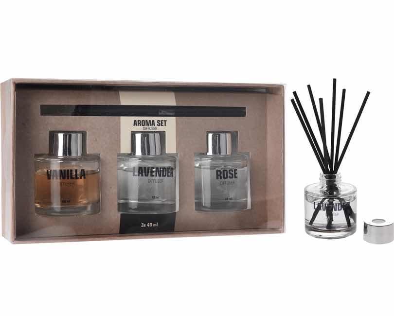 Aroma sæt med 3 dufte og 15 pinde