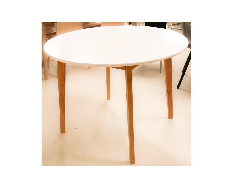 Hvidt rundt bord, træ ben Ø 105