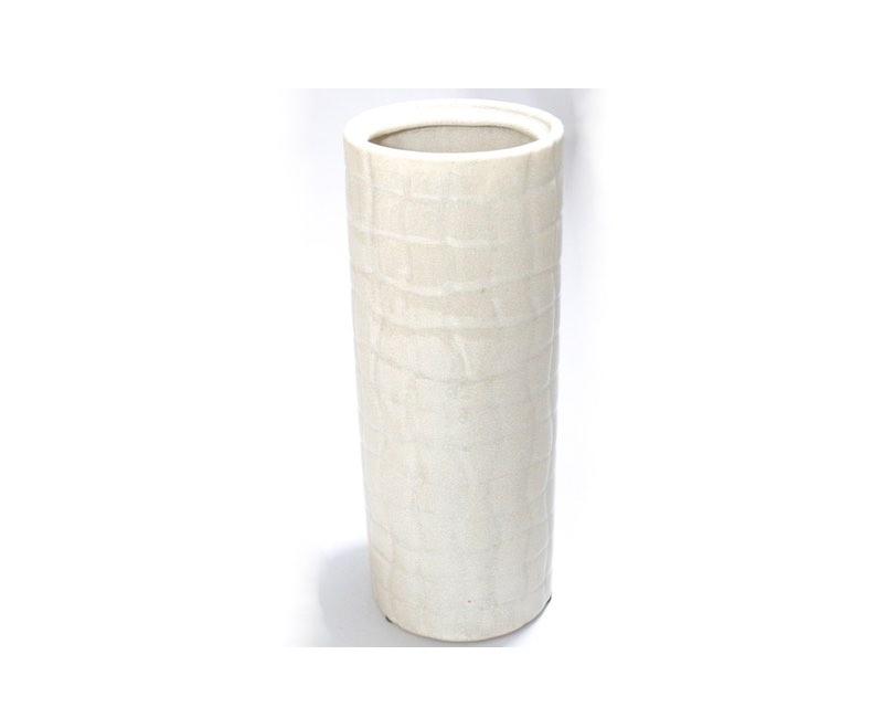 Vase, glaseret beige,ler, højde 28 Ø 10