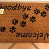 kokosmåtte med tekst velkommen og farvel